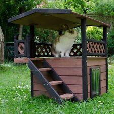 Outdoor Cat House Kitten Den Pet Wooden Maisonette Shelter Hideaway Cabin Hut