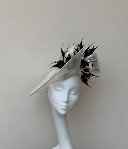Ivory & Black Fascinator / Hatinator / Hat - Ascot, MOB, MOG, Wedding, Races