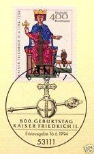 BRD 1994: Kaiser Friedrich II. Nr 1738 mit Bonner Ersttagssonderstempel! 1A 1708