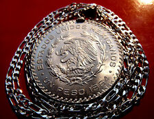 "Mexican Silver Eagle Peso Pendant on a 20"" 925 ITALIAN Sterling Silver Chain"