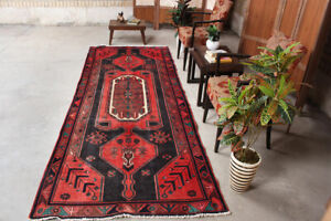 Vintage Geometric Oriental Traditional Hand Knotted Wool Runner Area Rug 4x10