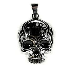 TRIBAL SKULL PENDANT Charm Jewelry Goth Flaming Biker Necklace Silver Tone Metal