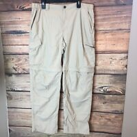 Columbia Convertible 2 In 1 Omni-Shade Outdoor Pants Shorts Beige Nylon 38x32
