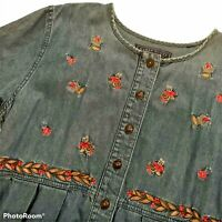 Womens M Denim Jumper Dress Short Sleeve Embroidered Maxi Pockets Modest Medium
