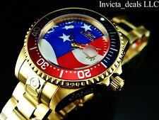 Invicta Men Grand Diver 300m Automatic Star And Stripes Dial Gold Plated SS Watc