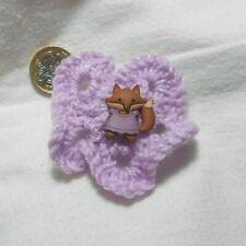 Hand knitted flower hair clip, 7 cm dia., Lilac, Fox button, barrette