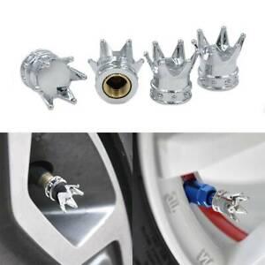 4X Chrome Crown Car Auto Bike Truck Tire Air Valve Stem Cover Caps Wheel Rims X