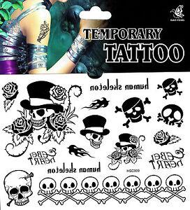 Skull Tattoo 1 Bogen Fake Tattoo einmal Tattoo tatoo tatto temporary Totenkopf