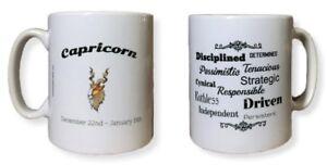Capricorn Star Sign Mug. Zodiac Mug With Description Of Capricorn. Zodiac Mugs