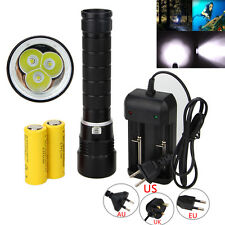 Underwater 100m 10000LM 3x XM-L T6 LED Diving Flashlight 26650 Torch Waterproof