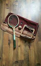 Vintage en bois bleu aile Raquette de tennis. DUNLOP Raquette Press. balle de tennis & Sac