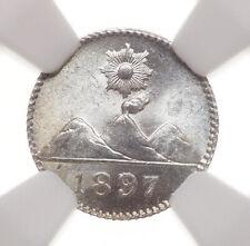 GUATEMALA. 1897, Silver 1/4 Real, Gem BU - NGC MS65+ GEM!