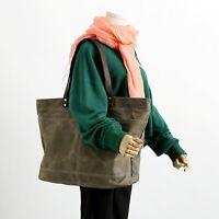 Waxed Canvas Shoulder Tote Bag Travel Handbags Water Repellent Dirt Resistant