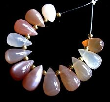 12 NATURAL SHADED PEACH PINK MOONSTONE SMOOTH DROP BRIOLETTE BEADS 8-10 mm P44
