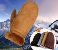 Women Girl Real Sheepskin Mittens Gloves Fur Trim Leather Winter Warm Glove New