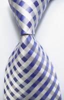 New Classic Checks Blue White JACQUARD WOVEN 100% Silk Men's Tie Necktie