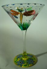 Hand Painted Dragonfly Martini Glass