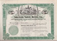 AMERICAN SAFETY DEVICE CO.........1925 STOCK CERTIFICATE