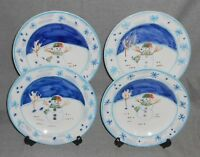 Set (4) Montgomery Ward SNOWMAN PATTERN Salad Plates HOLIDAY - CHRISTMAS