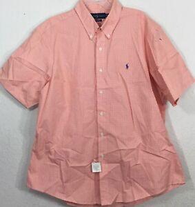 Ralph Lauren Men's Custom Fit Button Down Short Sleeves Mini Check Shirt Sz 2XL
