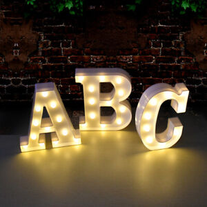 A-Z LED Large Letter 0-9 Number Night Light Sign UP Birthday Party Wedding Decor