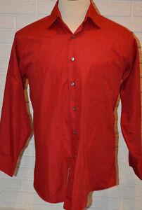 Men's Arrow Red Long Sleeve Button Front Poplin Dress Shirt Top 16.5 (32/33)