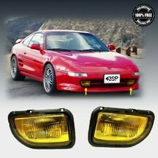 Fit For 1991 1995 Toyota MR2 Front Fog Lights Yellow Lens Pair LH RH Set w/Bulbs