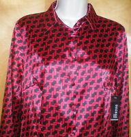NWT NEW womens ladies size S M L XL red black print l/s stretch blouse shirt top