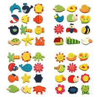 12Pcs Wooden Cartoon Animal Fridge Magnet Decals Kids Educational Toys Random