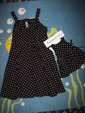 Maggie & Zoe Dress Girls Sz 6 Black White Polka Dot Matching Doll Dress NWT