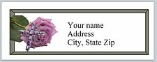 30 Personalized Return Address Labels Rose and cross Buy 3 get 1 free (c 840)