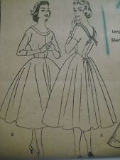 Vtg 50's Butterick 7197 ROUNDED BACK-TIE COLLAR DRESS Sewing Pattern Women Sz 12