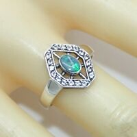 Opal Ring Opal & Weiß Topas  925 Sterling Silber   # 56