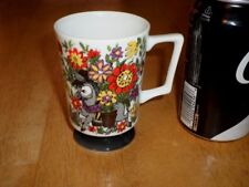 Donkey & Flowers, Ceramic Coffee Cup / Mug, Vintage 1970's yrs.