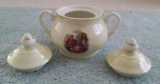 Vintage Sugar Bowl 2 Lids Japan Portrait Romance Scene Lustre Porcelain