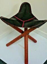 Leather / wood foldaway stool /seat fishing picnic outdoor furniture