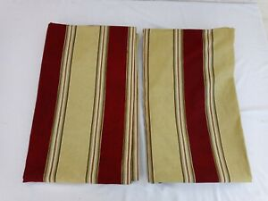 "2 Waverly Home Striped Burgundy GreenishYellow Curtain Panel Lined Gold 50""x86"""