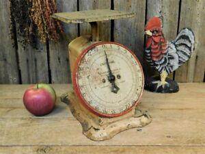Antique Red & Tan Kitchen Scale 24lb Works! Farmhouse Primitive