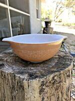 Vintage Pyrex Tan Woodlands #443 Cinderella Bowl 2 1/2 Qt. SHINY