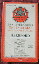 """ORDNANCE SURVEY NEW POPULAR EDITION 1"""" LINEN BACKED MAP OF HEREFORD - 1947"""