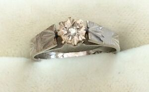 Lovely Ladies Hallmarked Vintage 18Ct White Gold Diamond Solitaire Ring - Size L