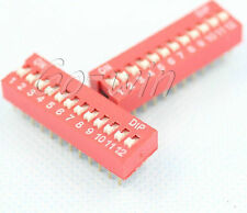 10Pcs Red 2.54mm Pitch 12-Bit 12 Positions Ways Slide Type Dip Switch