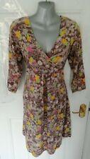 ❤ AMARI Size 12 (3) Dusky Brown Yellow Green Floral Soft Stretch Dress Cotton