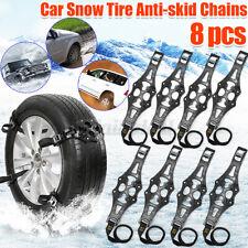 8X Stabile Schneeketten Anfahrhilfe Anti-Rutsch für Auto Reifen 165-285mm Schwar
