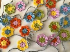 Spring colours Crochet Daisy Flower Garland Bunting Approx 3 metres - 20 flowers