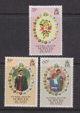 1981 Royal Wedding Charles & Diana MNH Stamp Set Norfolk Island SG 262-264