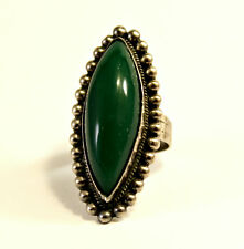 Antique Sterling Silver 925 Green Chalcedony Stone Ring Size 6, Signed
