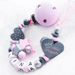 Schnullerkette mit Namen ❤ Mini Prinzessin ❤ Krone ❤ Baby Mädchen rosa grau