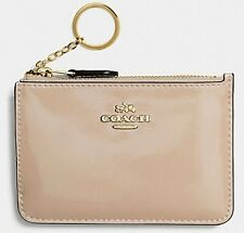 COACH F57310 Key Pouch with Gusset Patent Leather Platinum NWT $75