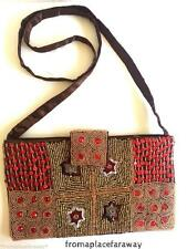 Vintage Indian Chocolate brown beaded and sequins satin silk evening bag